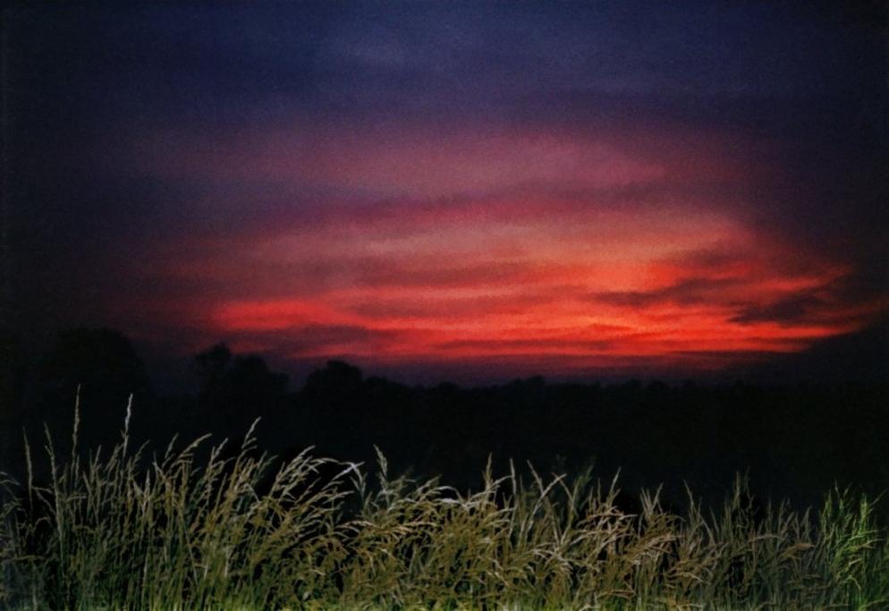 orange summer sunset just before dark