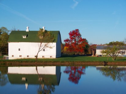 october farm pond view