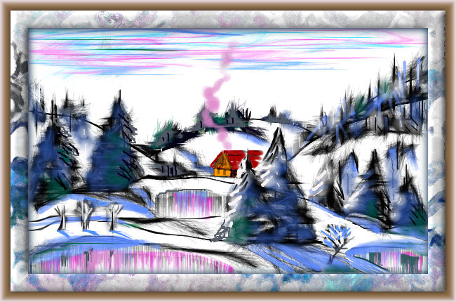 a frosty winter evening, online drawing