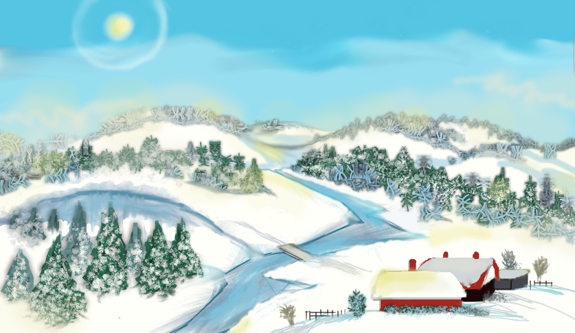 fresh morning snow - online drawing