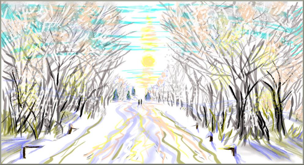 a winter walk, online drawing